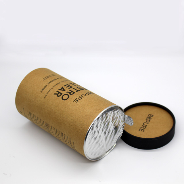 small round food grade recycle brown cardboard paper tea tube packaging