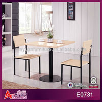 E0731 cheap restuarant furniture dining table and 2 chairs