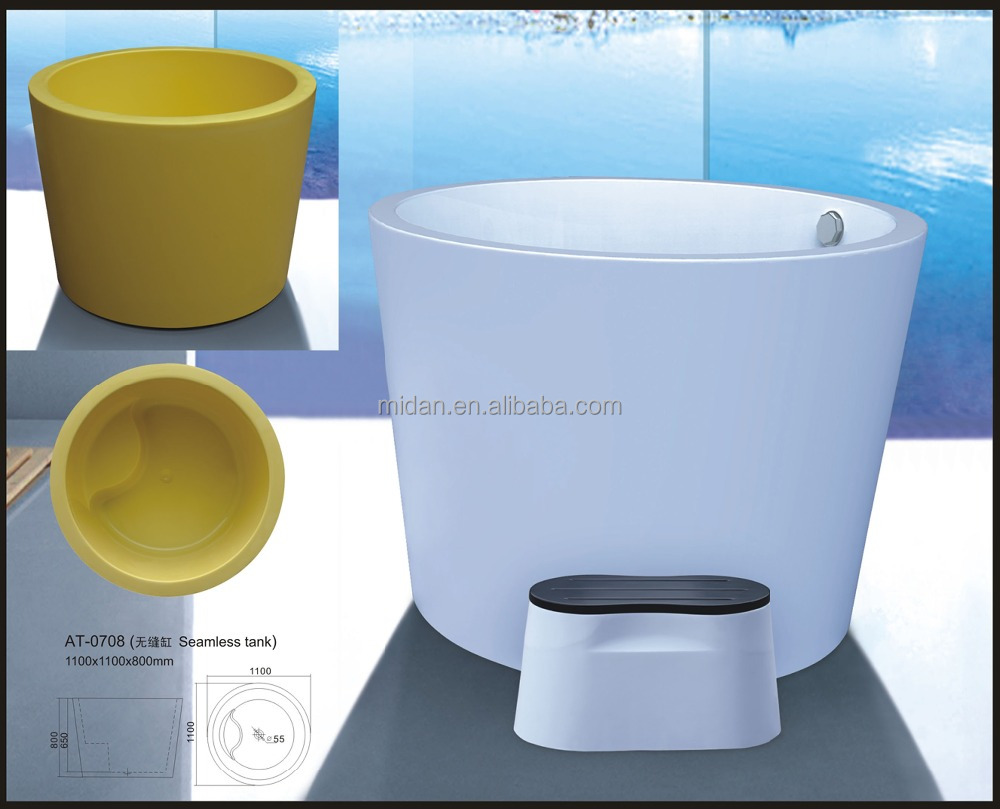 Seamless 110 by 110 round shaped bath bucket sitting bathtub for adults AT-0708