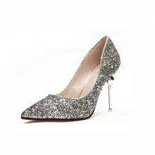 SAA4601 Wedding shoes lady pumps gold silver fashion pointed toe sequins women high heels shoes