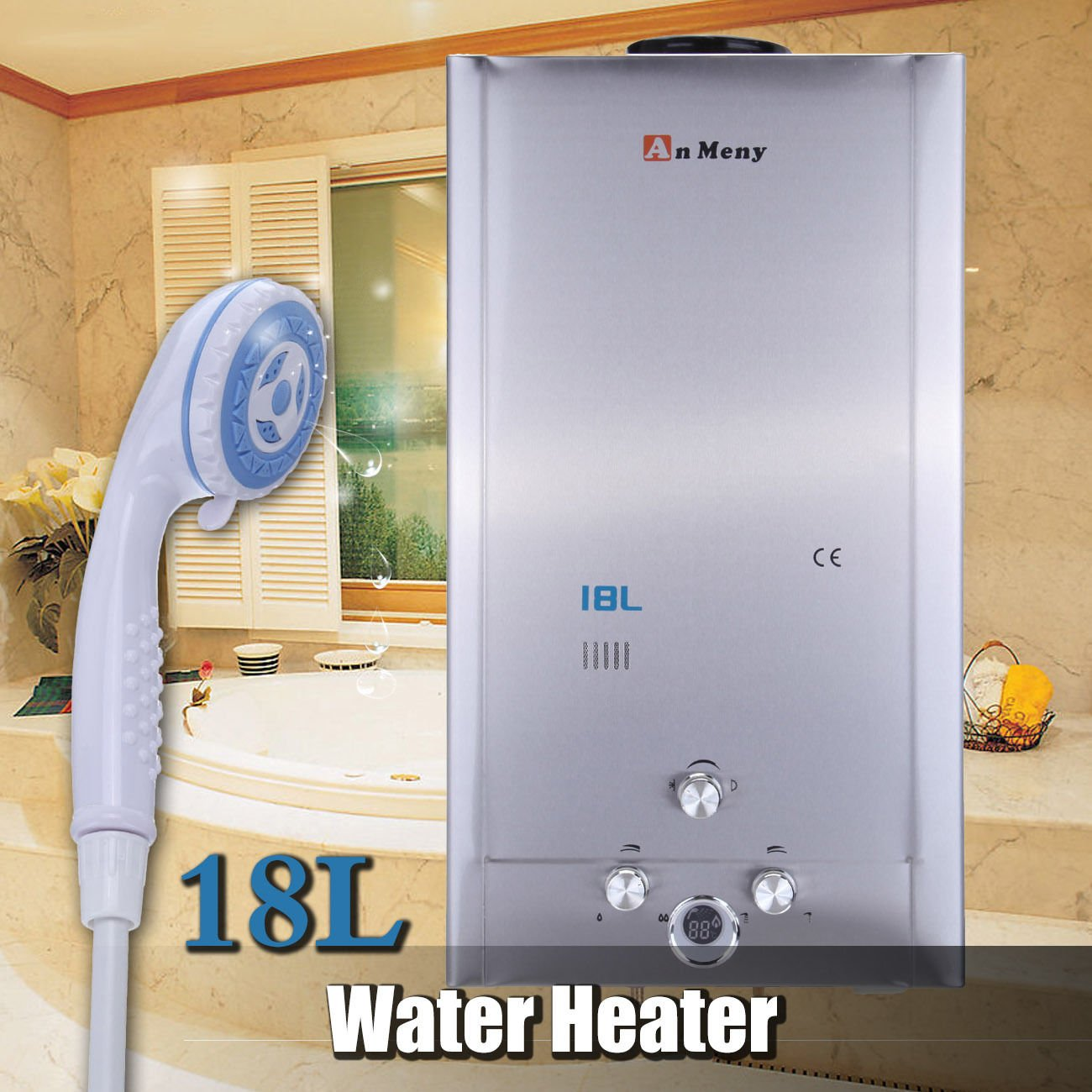 Ridgeyard Hot Water Heater 18L/ 4.75GPM LPG Propane Water Heater Gas Tankless Instant Boiler with Shower Head and LCD Display