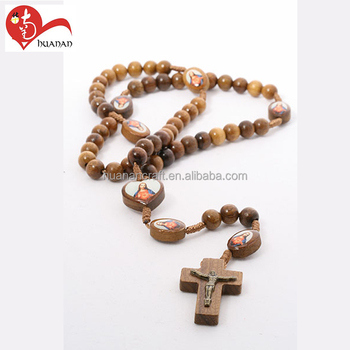 Christian designs 8*10mm cord rosaries wooden bead necklace