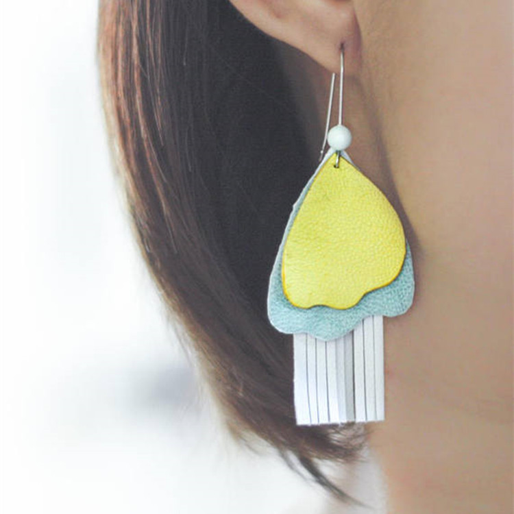 Handmade flower leather earrings baby blue and yellow minimalist chandelier earrings big leather statement earrings