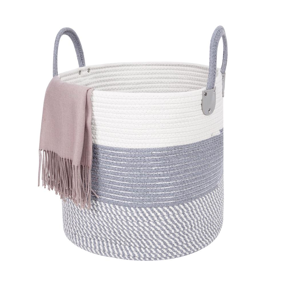 QJMAX Woven Rope <strong>Storage</strong> <strong>Basket</strong> Extra Large <strong>Bathroom</strong> Cotton Laundry <strong>Basket</strong> With Leather Handle