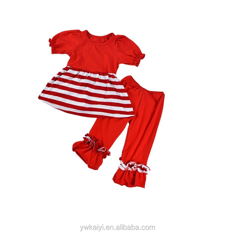 Wholesale Girls Children's Boutique Clothing Sets Short Puff Sleeve Baby Outfit