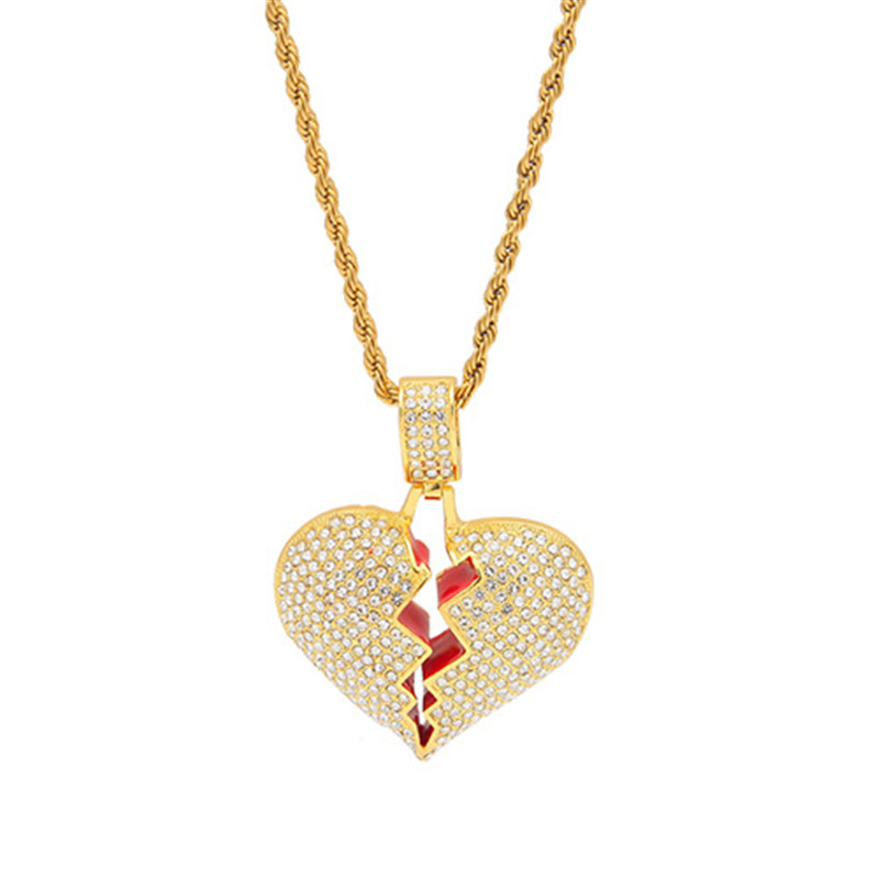 New Style Iced Out Full Rhinestone Broken Heart Pendant Necklace Men Alloy Jewelry