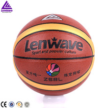 Lenwave brand outdoor equipment basketball leather custom printed basketball ball