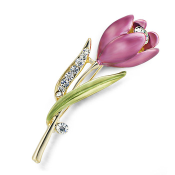 Elegant Tulip Flower Brooch Pin Crystal Rhinestone Costume Jewelry Clothes Accessories Jewelry Brooches For ladies Wedding