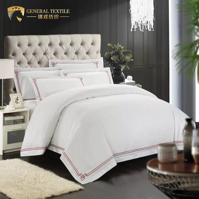 Luxury 100% cotton 5 star hotel embroidery red color bedding set