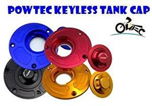 POWTEC Quick Release CNC Billet Keyless Fuel Gas Tank Cap for Kawasaki ER6N ER6F 2006+,Ninja650/650R/ABS-Black