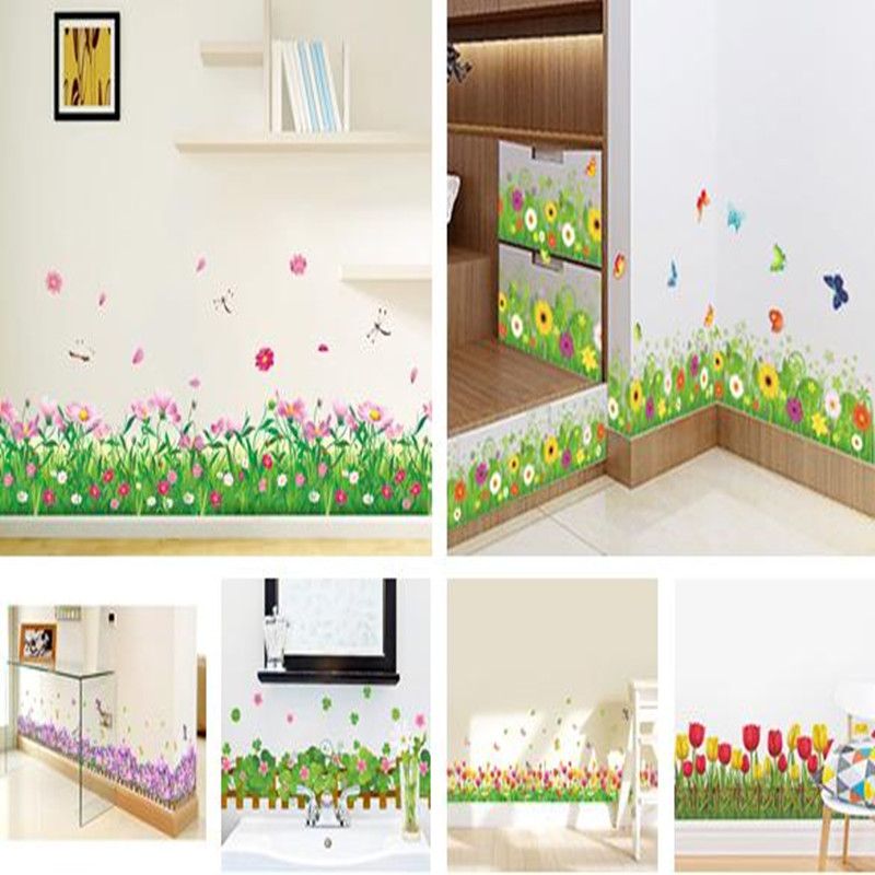PVC Warm romantic DIY removable wallpaper Flower and butterfly bypass line wall sticker Baseboard wall stickers home decor