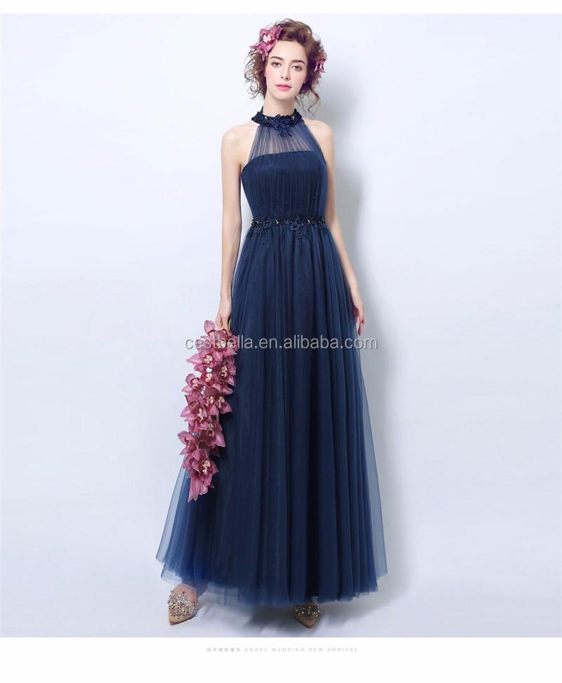 Wanita Elegan Tanpa Lengan Dark Blue Formal Royal Blue Gaun Pesta
