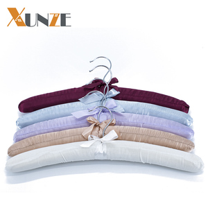 Wholesale cheap fabric price padded fancy coat clothes satin hotel hangers for display