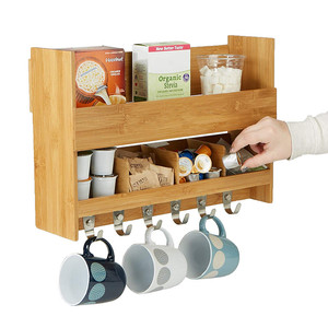 Wall Mount Kitchen Storage Organizer with 6 Hooks and 2 Shelves
