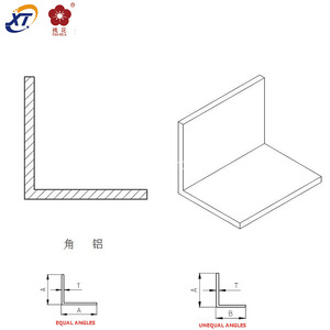 6063 Architectural aluminum profiles l angle 45 degrees