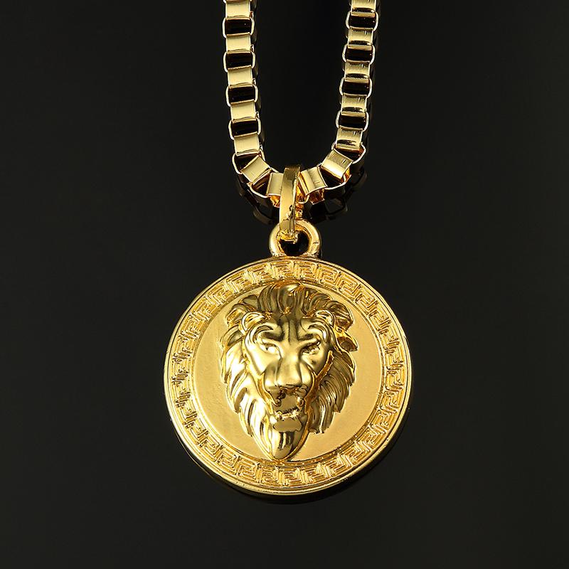 Colar Hip Hop Real Gold Plating Lion Head Necklace Punk ...