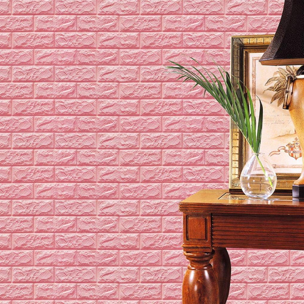 Kacowpper 3D Wall Stickers, New Creative PE Foam 3D Wallpaper DIY Wall Stickers Wall Decor Embossed Brick Stone