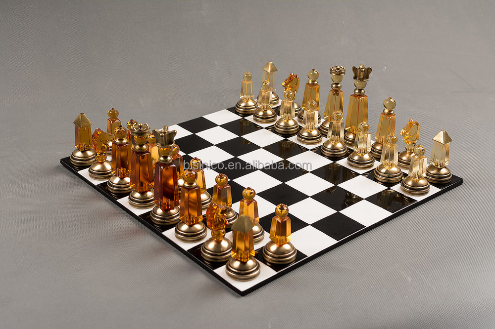 Decorative Chess Sets imperial crystal brass chess sets,clear & gold noble international