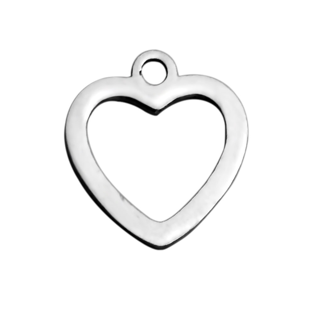 12.6*11.8mm Titanium Steel Love Heart Laser Cutting Pendant for DIY Unique Bracelet Necklace