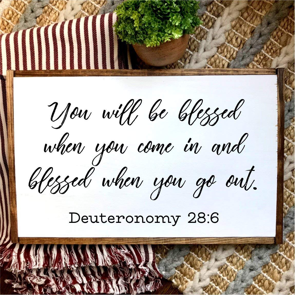 You will be blessed when you come in and blessed when you go out | Deuteronomy 28:6 | Christian art | Hand-painted Over-sized Wooden Sign | Modern Farmhouse Style | Fixer Upper inspired home decor