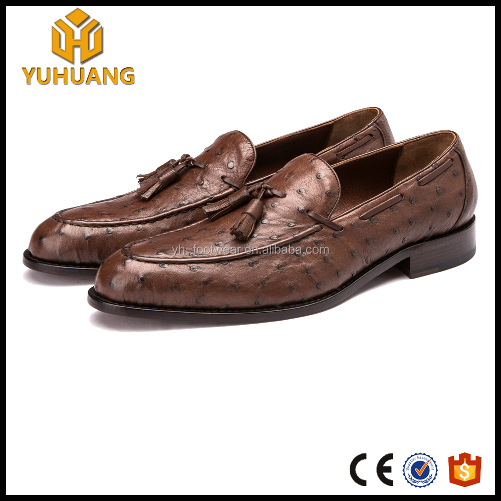 ed2ba65794 Luxury brand Brown Casual Leather dress Shoes Ostrich Leather Custom Made loafer  Shoes