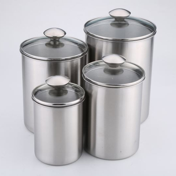 Large Airtight Stainless Steel Coffeesugartea Canister With Glass