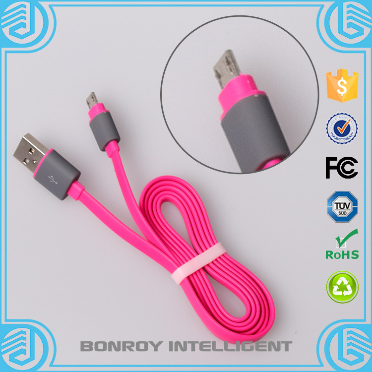 Micro USB Charging Sync Data Cable Smart Coloful Noodle intelligent data cable For Samsung S6 S5 S4 Note 5