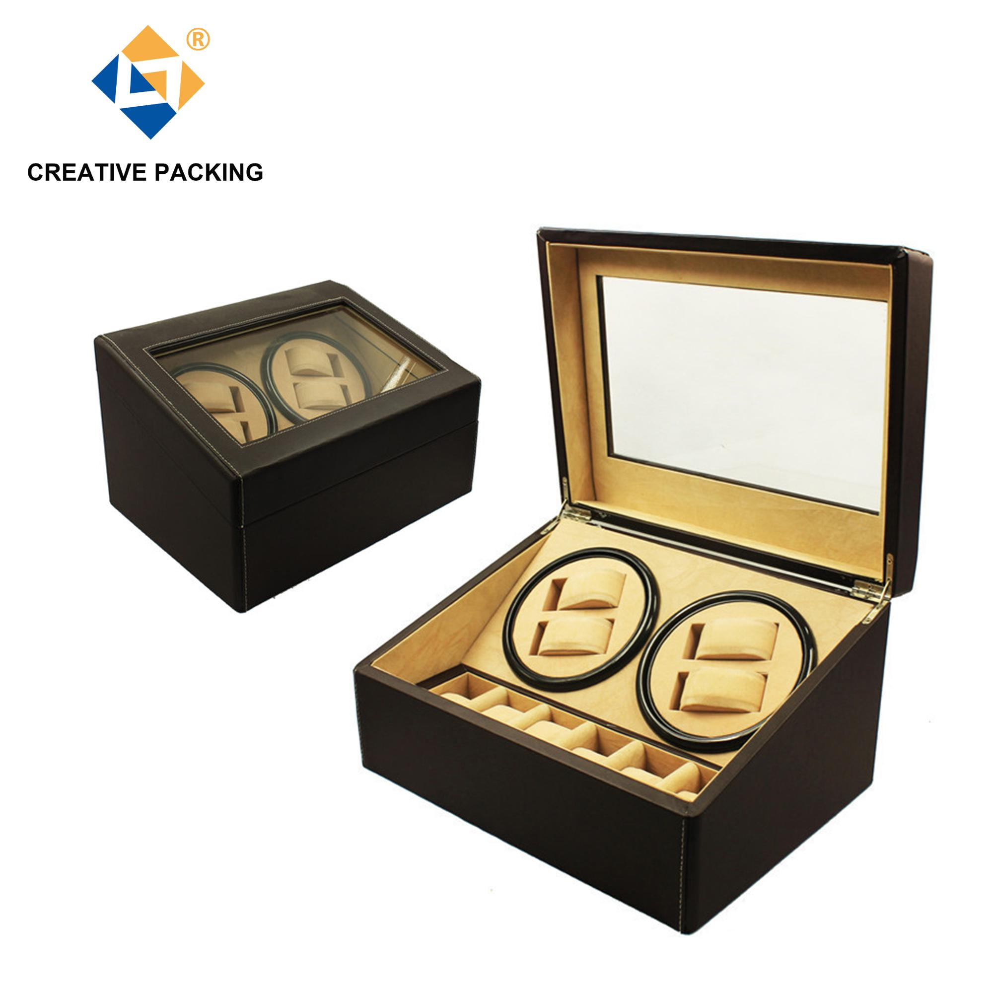 Unique High-end Black Leather Automatic Watch Winder