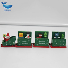 Wooden Christmas Train Decoration Children Christmas gifts Indoor wood crafts
