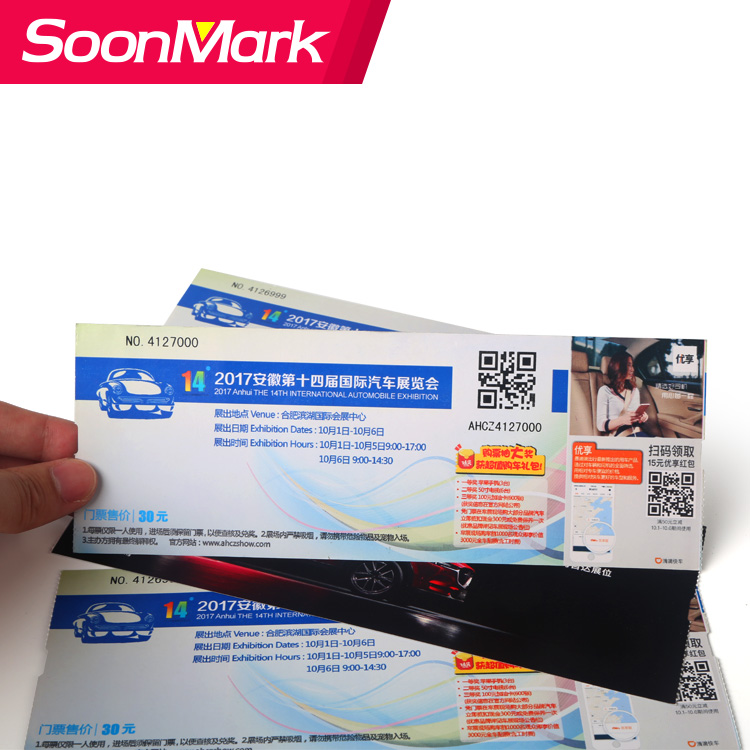 Custom thermal paper boarding pass airline ticket printing/entrance ticket/admission tickets