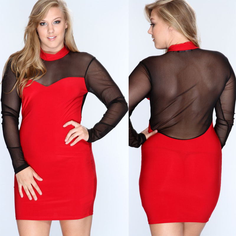 1f4153e68c0 Plus Size Clubwear 2015 New Summer Sexy Club Dress For Plus Size Women  Nightclub Long Sleeves ...