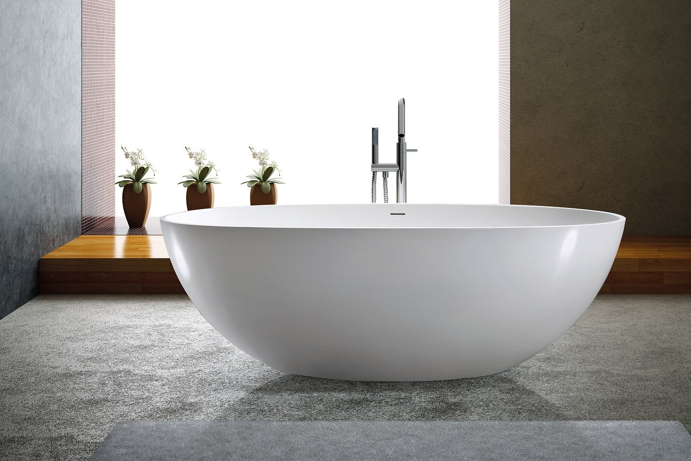 Modern Bathtub - Soaking Bathtub - Freestanding Bathtub - Solid Surface Bathtub - Cast Stone Bathtub - Adalina 71""