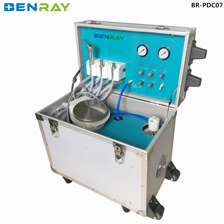 BR-PDC07 cheap portable dental unit dental treatment instrument luggage case with built-in compressor