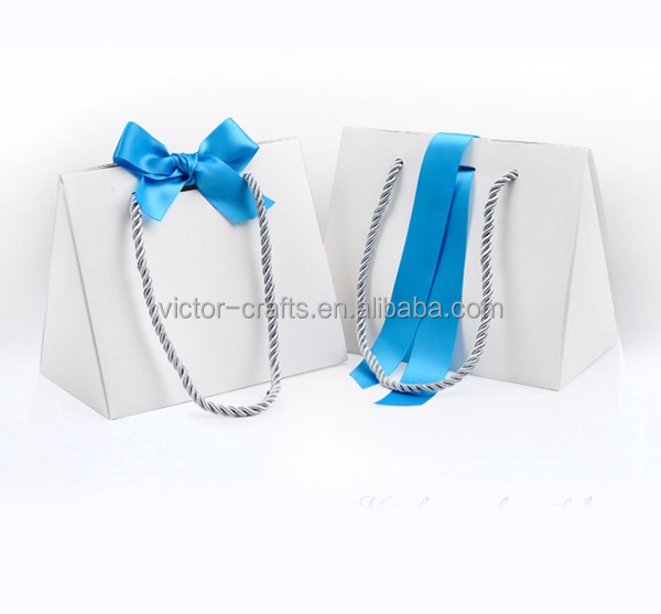 Premium White Paper Boxes with Blue Ribbon & String Handles paper cardboard suitcase box with handle