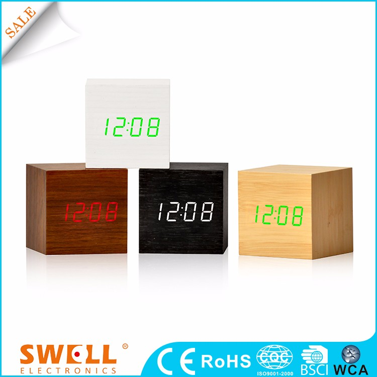 hot sale led alarm clock cube blue , led wood square digital alarm clock