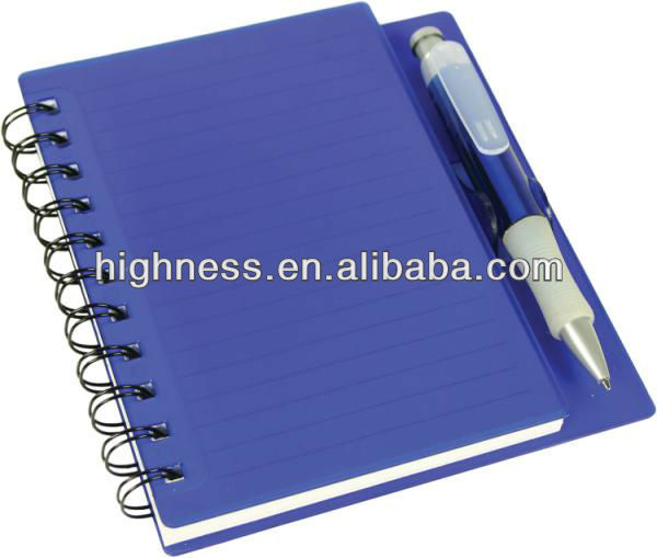 2014 HOT SALE Chinese manufacturers wholesale spiral hard cover notebook with pen