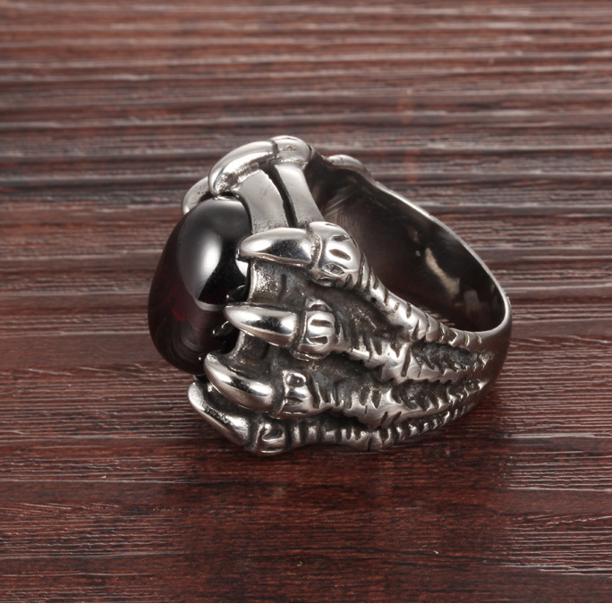 Wholesale Punk Men Stainless Steel Claw Red Stone Ring