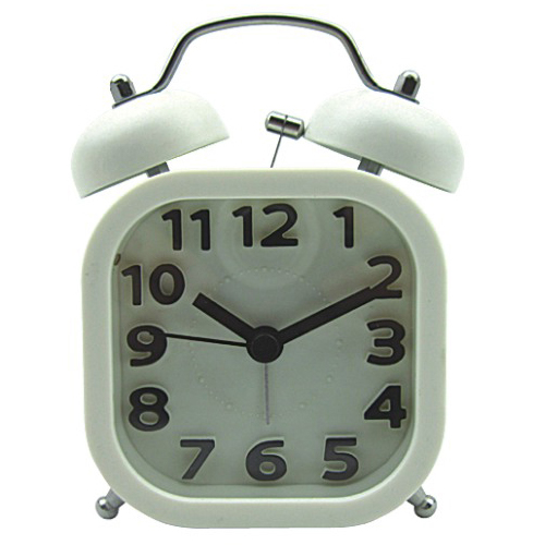 Square Shape Twin Bell Alarm Clock with Index Numbers
