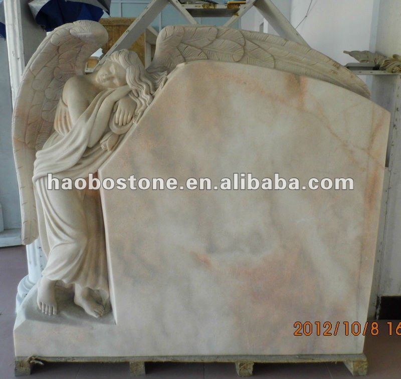 Pink Travertine Marble Tombstone and Monument with Angel Engravig