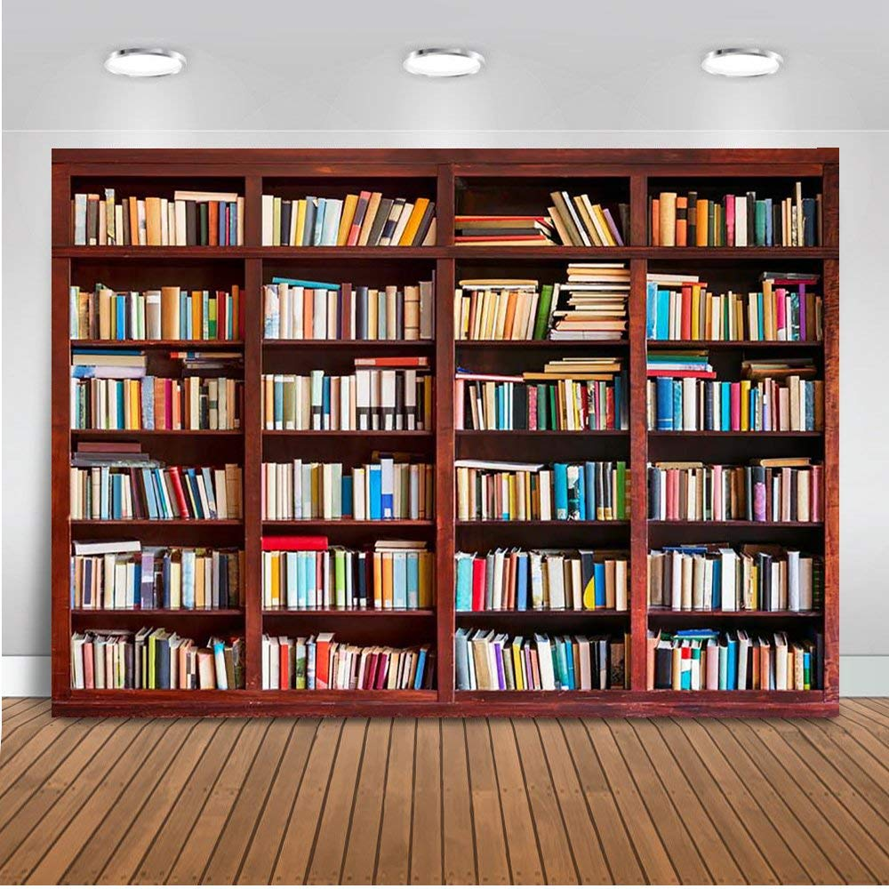 Mehofoto Bookshelf Bookcase Backdrop Brown Wood Library Study Room Photography Background 7x5ft Vinyl Personalized Portrait Party Decoration Backdrops
