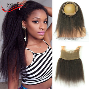 wholesale 360 lace frontal closure indian kinky straight yaki 360 lace band frontal wig