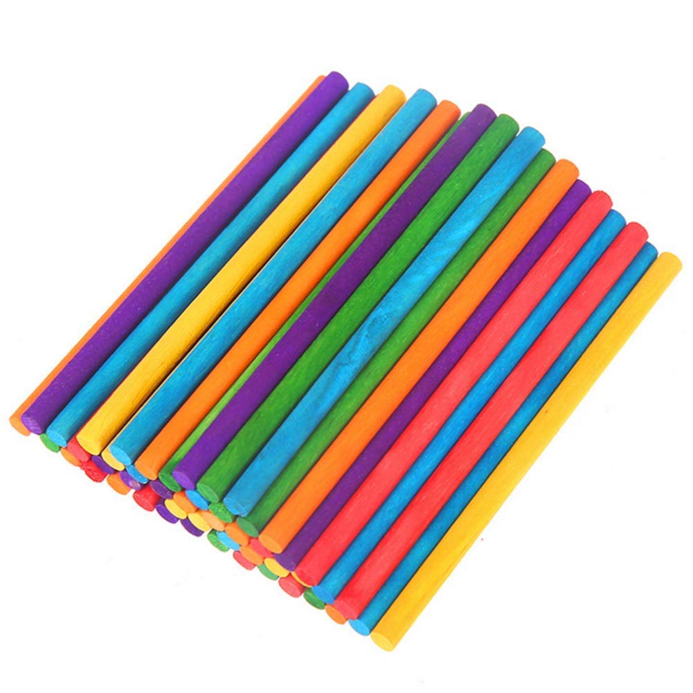 150 Pcs 4 Inch Colored Wooden Craft Sticks Round Sticks Ice Cream Sticks for DIY Project, Crafts Designs, Creative Handmade Arts