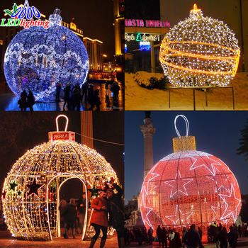 outdoor giant christmas lights led big ball 3d motif light with snowflake for shopping mall - Giant Christmas Balls