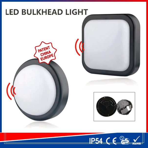 High power ceiling cover dampproof 15w sensor wall bulkhead light led