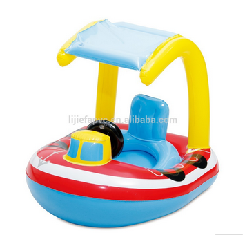 Fun toys baby float boat inflatable baby car seat float with canopy