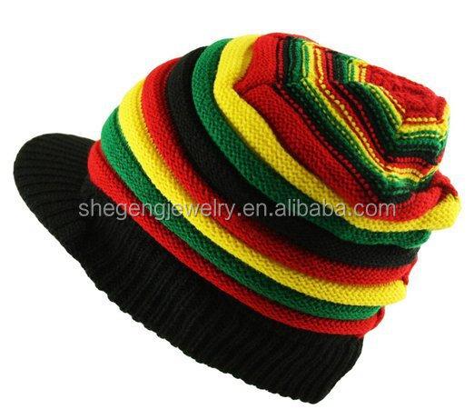 ITZU RASTA Reggae Knitted Slouch Over Sized Peak Beanie Cap Hat Striped Unisex