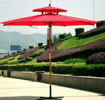 Double Roof Windproof Wood Patio Umbrella