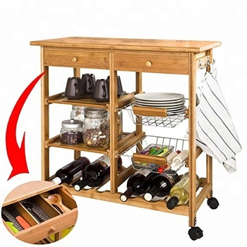Wooden Bamboo Kitchen Storage Cart Dining Trolley With Wine Holder