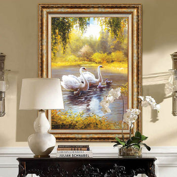 Wide Ornate Shabby Chic Antique Swept Oil Painting Swan Picture Ps