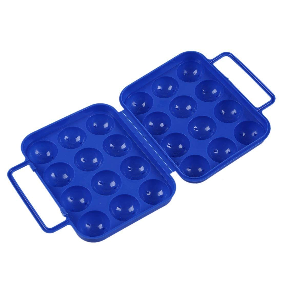 TOOGOO(R)Blue Folding Plastic Eggs Carry Case Box (For 12 eggs) for Picnic Container